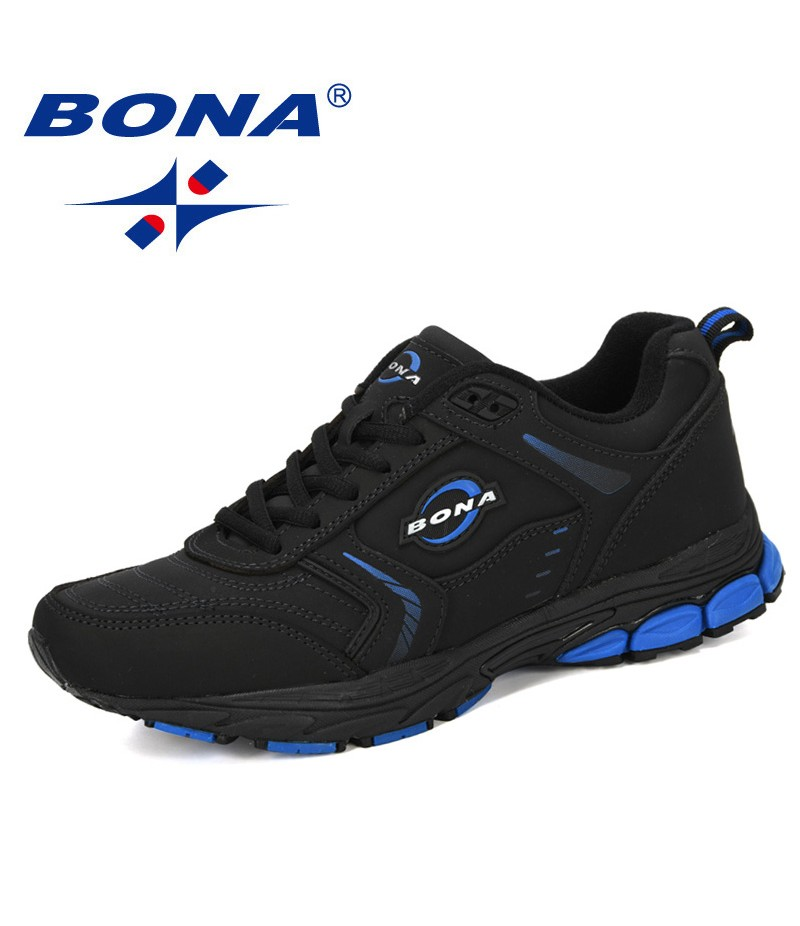 BONA 2019 New Designer Running Shoes Men Cow Split Sneakers Trainer Outdoor Sport Shoes Male Athletic Zapatillas Jogging Shoes