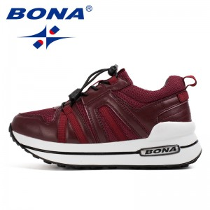 BONA  Chinese Shoes manufacture  Women Walking Shoes Height Increasing Jogging Shoes Lace Up Sport Shoes Outdoor Sneaners Soft Comfortable