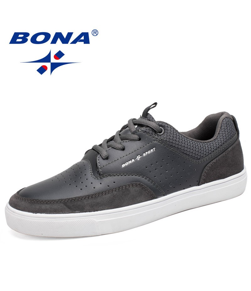 BONA New Hot Style Men Flats Lace Up Men Shoes Round Toe Men Loafers Shoes Rubber Out Sole Men Casual Shoes Fast Free Shipping