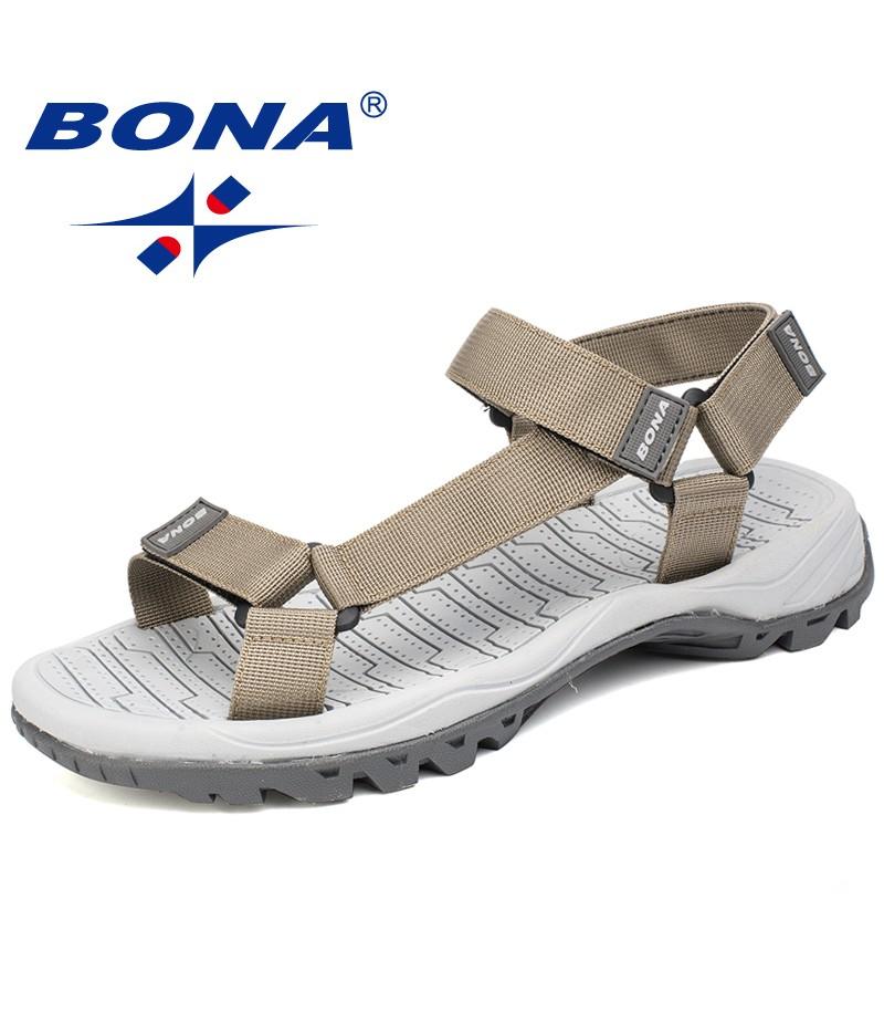 BONA New Hot Style Men Sandals Anti-Slippery Summer Shoes Men Light Weight Slippers Male Flat Heels 39.2