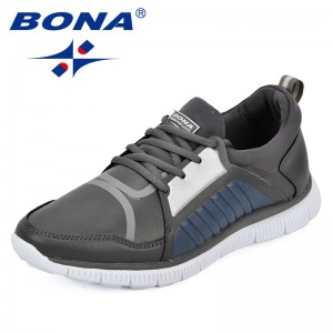 BONA 2018 Men Shoes Light weight Sneakers Breathable Lace Up Casual Shoes For Men Fashion Footwear Zapatillas Hombre Comfortable