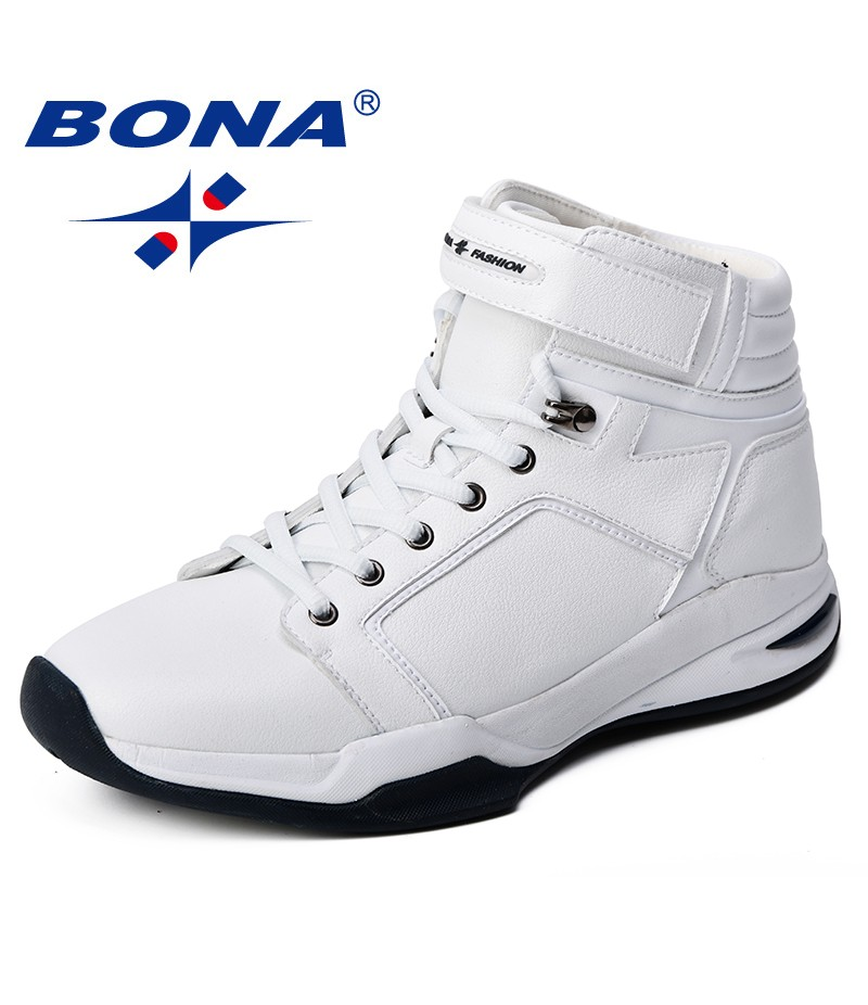 BONA 2018 Men Basketball Shoes Cow Split Synthetic Sport Shoes Breathable Outdoor Jogging Shoes Comfortable High Upper Sneakers