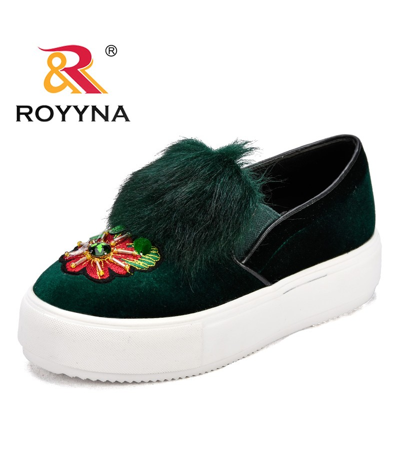 ROYYNA New Fashion Style Women Sneakers Shoes String Bead Flock Female Casual Shoes Plush Platform Lady Flats Fast Free Shipping