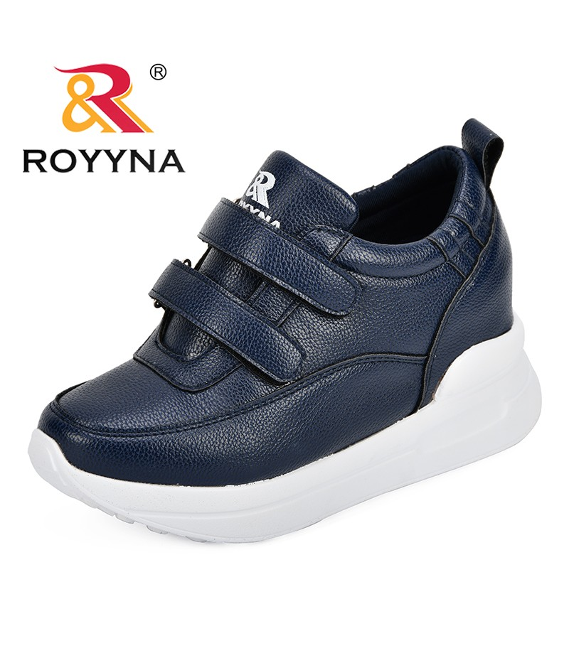 ROYYNA 2018 New Leather Casual Fashion Autumn Wedge Shoes For Women Platform Hook & Loop Popular Trendy Sneakers Lady Flats