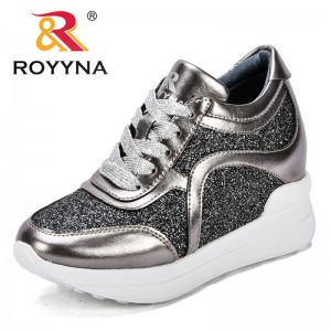 ROYYNA New Popular Style Women Sneakers Shoes Height Increasing Feminimo Casual Shoes Bling Microfiber Lady Flats Free Shipping