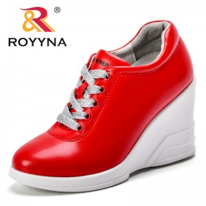 ROYYNA New Fashion Style Women Sneakers Shoes Microfiber Lace Up Female Casual Shoes Height Increasing Lady Flats Free Shipping