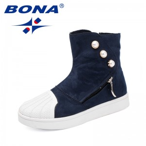 BONA New Popular Style Children Sneakers Shoes Zipper Boys Comfort Shoes High Top Girls Casual Shoes Valcanized Kids Flats