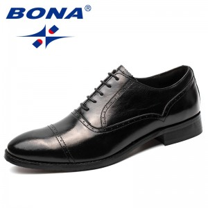 BONA New Arrival Popular Style Men Formal Shoes Geniune Leather Men Office Shoes Lace Up Male Dress Shoes Fast Free Shipping