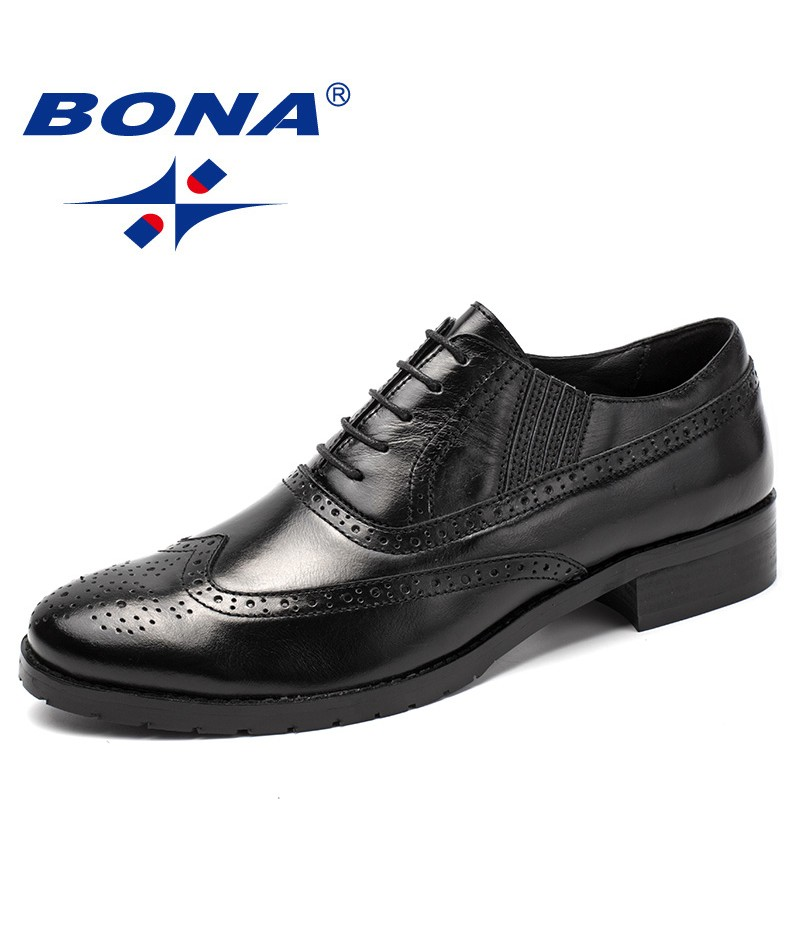 BONA New Fashion Style Men Formal Shoes Genuine Leather Cow Leather Men Dress Shoes Lace Up Men Brogue Shoes Fast Free Shipping