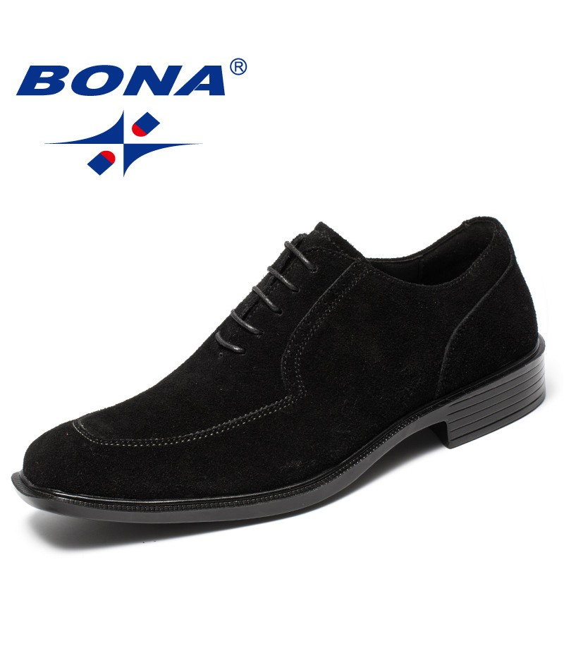 BONA New Fashion Style Men Formal Shoes Cow Suede Leather Men Dress Shoes Square Toe Male Office Shoes Fast Soft Free Shipping