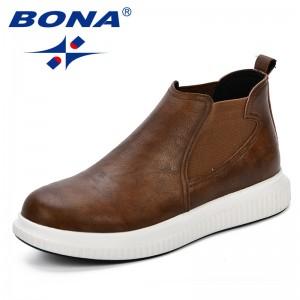 BONA Microfiber Leather Men's Casual Shoes Black Brown Men Flats Hand Made Men Oxfords Comfy Zapatos Hombres Trendy Men Shoes