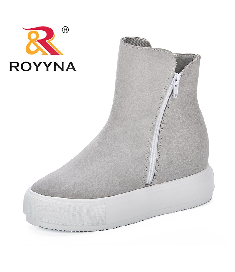 ROYYNA Women's Winter Ankle Boots Female Zipper Flock Platform Snow Boot Lady Plush Sneakers Casual Flats Shoes Woman Footwear
