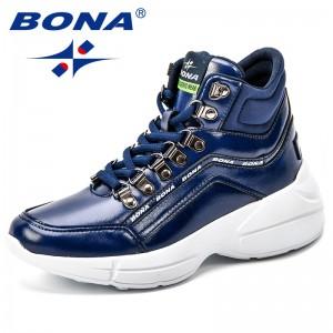 BONA New 2018 Women Ankle Boots Fashion Autumn Winter Comfortable Work Shoes Platform Footwear High Top Sneakers Women Flats