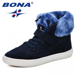 BONA 2018 New Fashion Style Children Boots Kids Autumn Shoes Flock Ankle Boots For Girls Non-Slip Comfortable Shoes Plus Sizes