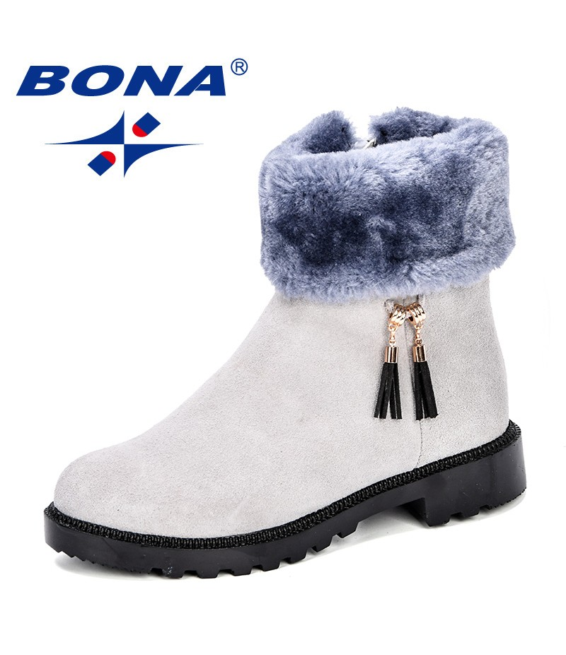 BONA New Fashion Style Girls Winter Boots Children Shoes Kids Snow Boots Side Zipper Soft Leather Plush Warm Comfortable Light