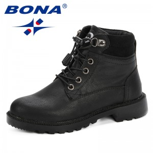 BONA 2019 Children's Boots Autumn Winter Children's Ankle Boots Boys and Girls Martin Boots Comfortable Students Winter Shoes