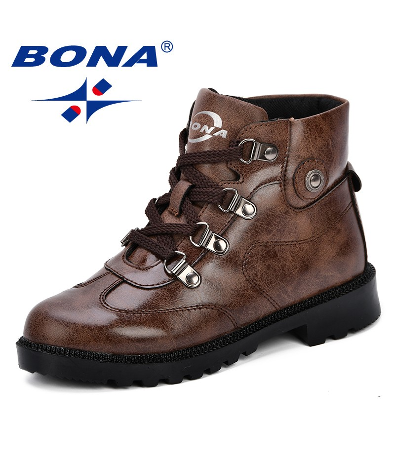 BONA 2018 New Autumn Children Shoes Martin Boots Kids Ankle Boots Brand Girls Boys Boots Fashion Sneakers Comfortable Light
