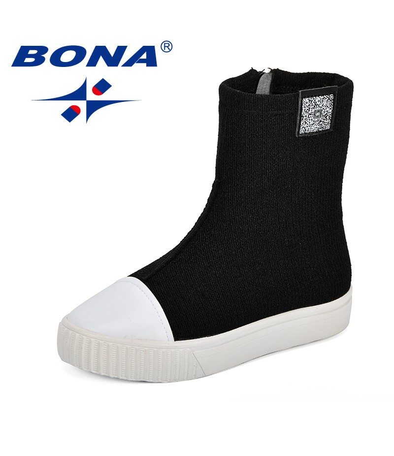 BONA New Style For Girls Fashion Jackboots Kids Knee Boots Comfy Shell Head Autumn Lycra Stretch Fabric Fly-Knit Children Shoes
