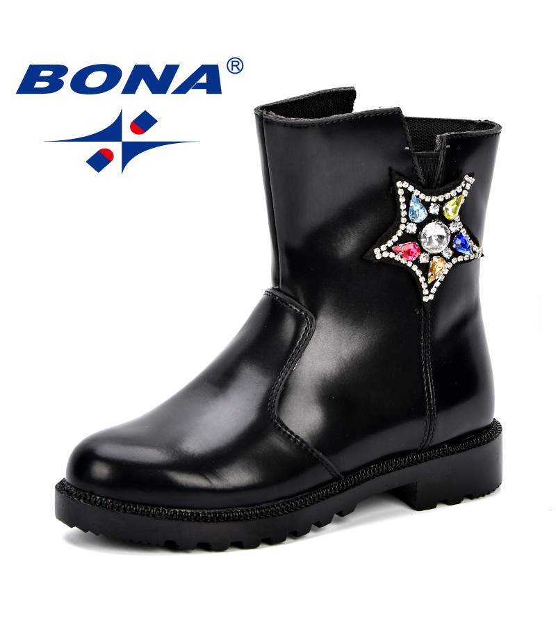 BONA Girls Autumn Boots Children Shoes Kids Mid-Calf Boots Side Zipper Soft Synthetic Five Star Crystal PU Outsole Girl Footwear