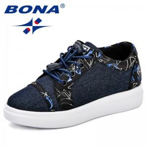 BONA Canvas Children Shoes Sport Breathable Boys Sneakers Kids Shoe Girls Jeans Denim Casual Child Flat Canvas Shoes Comfortable