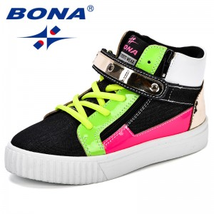 BONA High Top Shoes Kids Casual Flats Shoes Breathable Comfortable Walk Canvas Shoes Child Flats Fashion Style Durable Outsole
