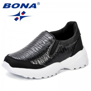 BONA Kids Sneaker 2018 Casual Girls Leather breathable Running Shoes Autumn Winter Children's Sports Shoes Boy Shoes For Shool
