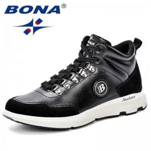 BONA Big Size Breathable Mens Shoes Lace Up Suede Microfiber Casual Shoes Durable Outdoor Men Shoe Designer Comfy Sneakers