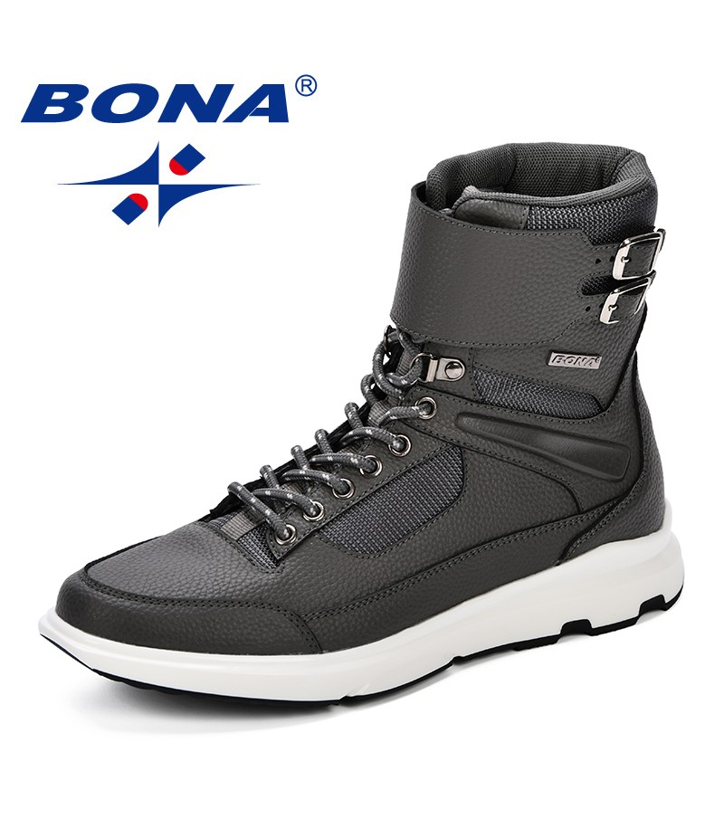 BONA New Designer Style Men Boots Fashion Ankle Winter Men Shoes Autumn Microfiber Footwear For Man Trendy High Top Casual Shoes