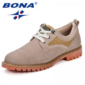 BONA Men Shoes Fashion Summer Autumn Comfortable Men Casual Shoes Suede Denim Men Breathable Flats Shoes Lace Up Anti-Slip Shoes