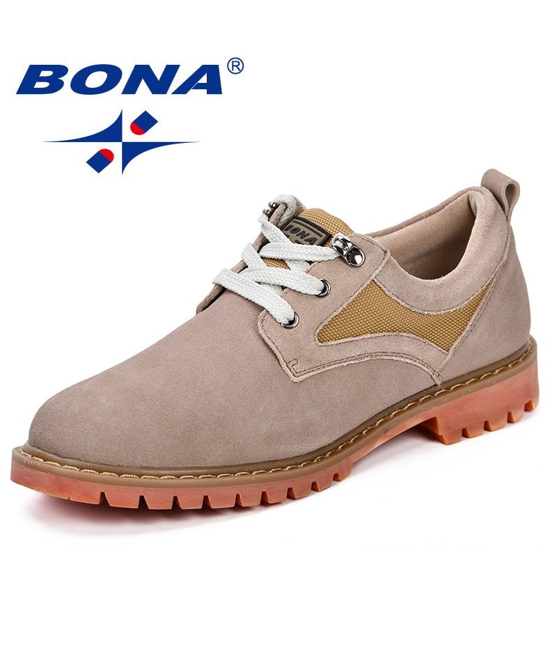 BONA Men Shoes Fashion Summer Autumn Comfortable Men Casual Shoes Suede Denim Men Breathable Flats Shoes Lace Up Anti-Slip Shoes