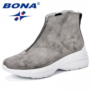 BONA New Designer Popular Style Boots Women Snow Boots Winter Shoes Woman Winter Botas Mujer Ankle Boots Women Booties Trendy