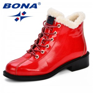 BONA New Women Snow Boots Platform Warm Plush Classic High Top Round Toe Flat Comfortable Casual Shoes Sneakers Zapatos De Mujer