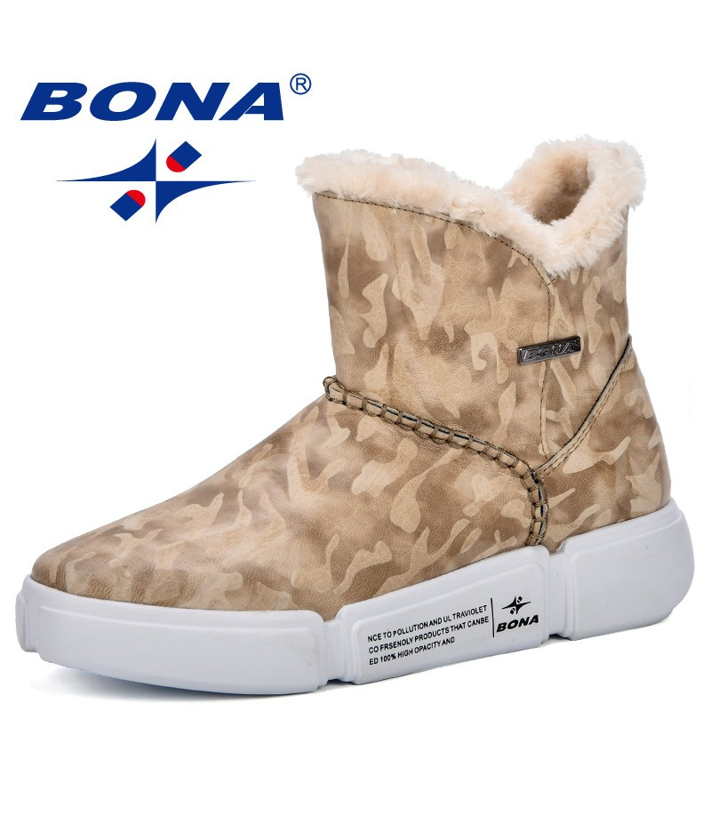 BONA New Popular Style Winter Fashion Women Boots Plush Female Warm Ankle Boots Full Size lady Snow Boots Comfortable Trendy