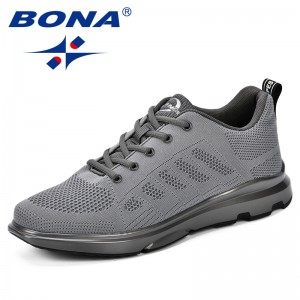 BONA 2018 Autumn New Arrivals Sneakers Mesh Breathable Sports Shoes Outdoor Male Walking Shoes Men Fly-Knit Durable Jogging Shoe