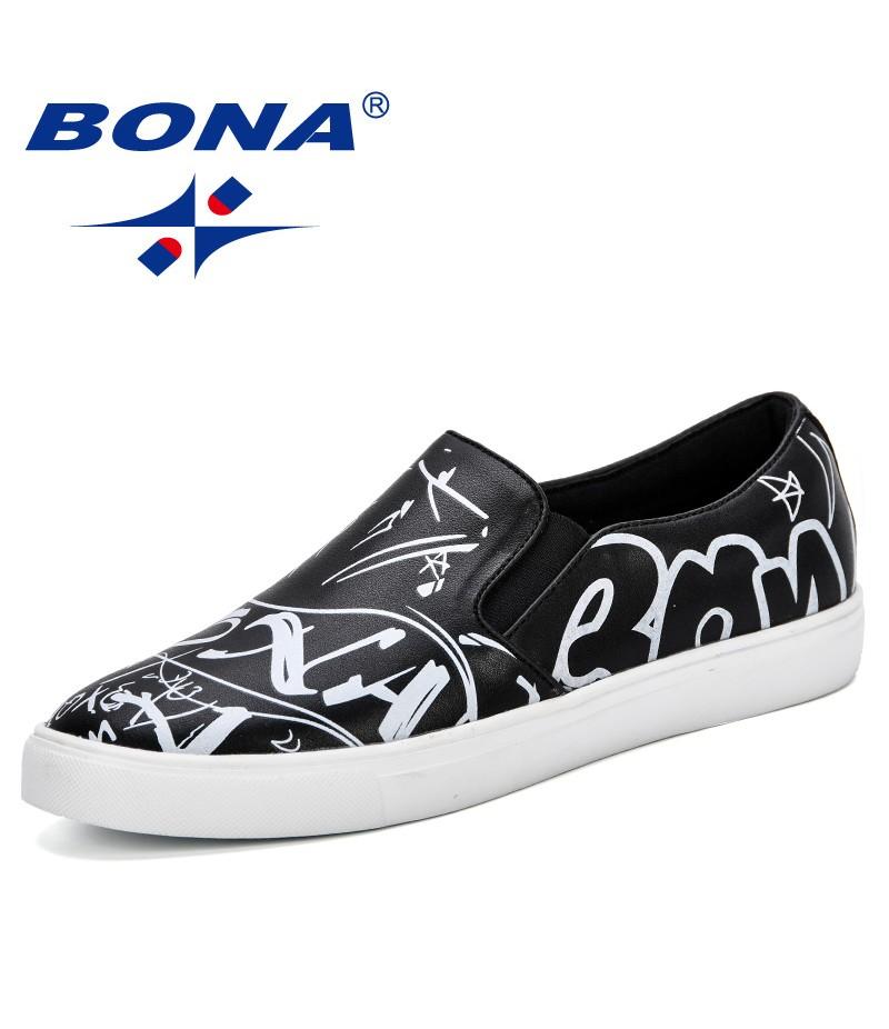BONA New Popular Men Casual Shoes Men Fashion Sneakers Luxury Brand Designer Leather Flats Male Krasovki Footwear Man Loafers
