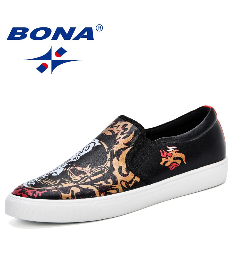 BONA 2019 New Men Trendy Casual Shoes Fashion Graffiti Flat Shoes Microfiber Man Sneakers Shoes Spring Autumn Male Loafers Shoes
