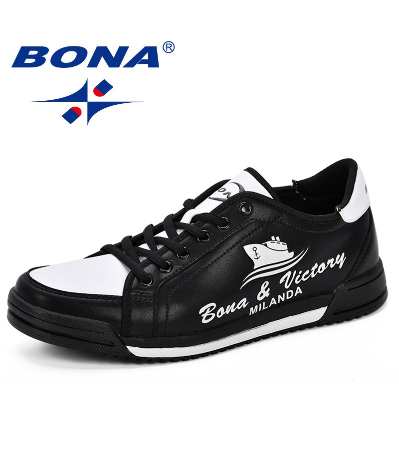 BONA Skateboarding Shoes Man Leather Low Male Fashion Outdoor Sneakers Men Sport Force Krasovki Shoes 2019 Spring Autumn Shoes