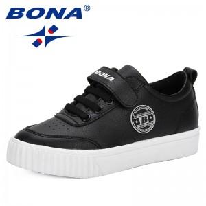 BONA 2019 Spring Autumn Children Shoes Boys Sport Shoes Antislip Soft Bottom Kids Sneaker Casual Flat Sneakers White Shoes