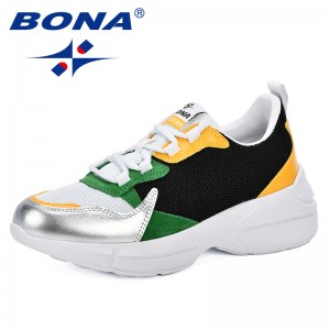 BONA 2019 Fashion Sneakers Women Outdoor Mixed Color Comfortable Mesh Comfy Sneakers Women Chaussure Femme Women Vulcanize Shoes
