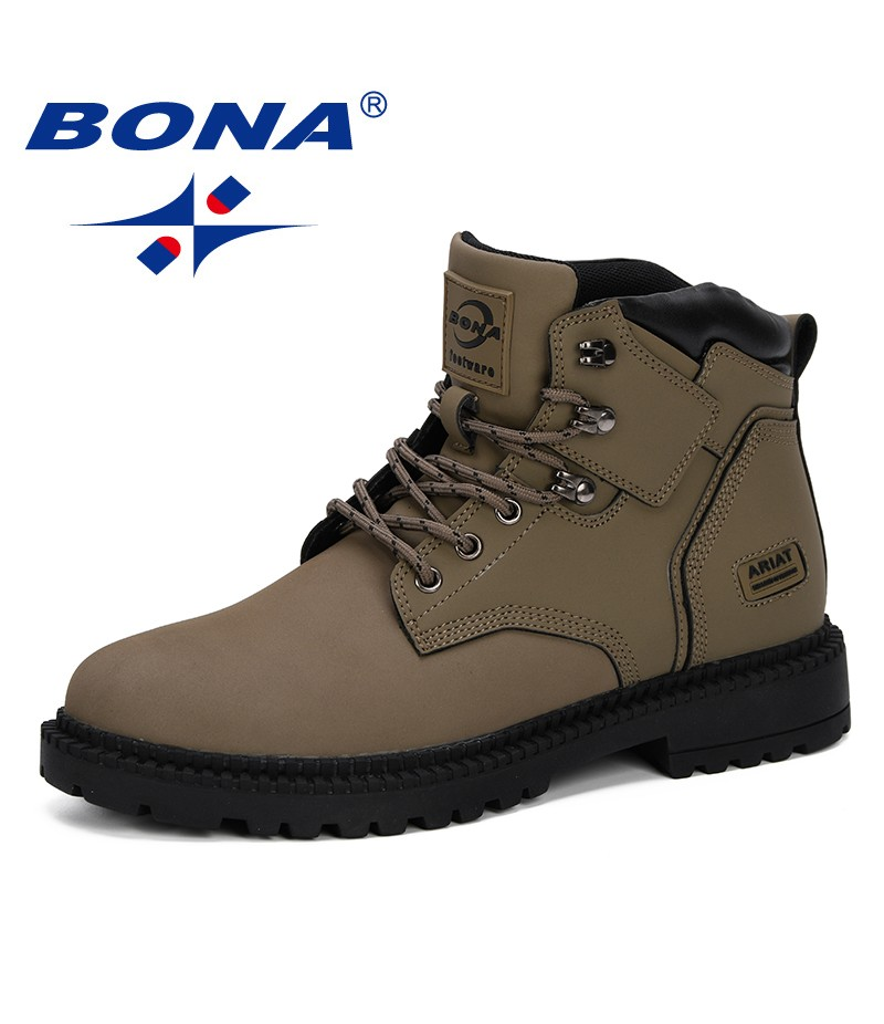 BONA New Style 2019 Men Boots Autumn Winter Boots Men Ankle Boots Work Shoes Men Tactical Boots Comfortable Trendy Ankle Shoes