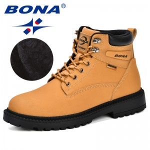BONA New Designer Winter Boots Men Nubuck Leather Unisex Style Fashion Work Shoes Lover Martin Boots Outdoor Casual Shoes