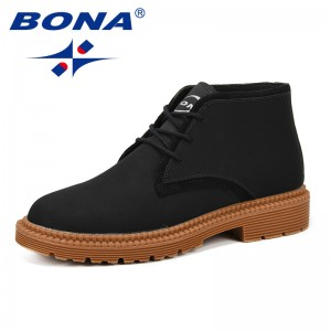 BONA Casual Shoes Men Boots Men Ankle Boots Fashion Martin Boots Men Shoes Outdoor Working Boots Tenis Masculino Free Shiopping