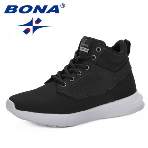 BONA 2019 Spring And Autumn Men 's Casual Shoes Sneakers Leisure Men Shoes High Upper Nubuck Leather Fashion Trend Men Footwear
