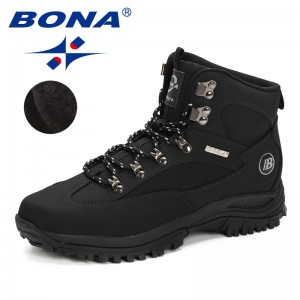 BONA 2019 Winter Real Leather Men Boots Lace Up Warm Snow Boots Men Winter Boots Work Shoes Men Footwear Rubber Ankle Shoes