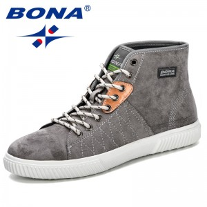 BONA 2019 Spring Autumn New Designer Popular Style Men Leather Boots Cow Suede Men's High Shoes Men's Ankle Casual Shoes Trendy