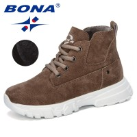 BONA 2019 New Designer Children's Warm Plush Winter Snow Boots Kids Ankle Comfortable Flock Outdoor Mountaineering Shoes Trendy