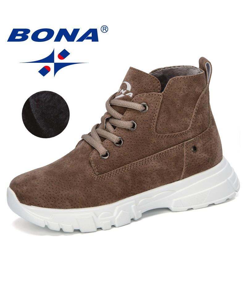 BONA 2019 New Designer Children's Warm Plush Winter Snow Boots Kids Ankle Comfortable Flock Outdoor Mountaineering Shoes Trendy