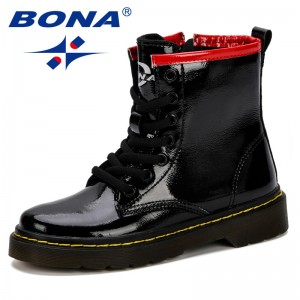 BONA 2019 New Popular Children Shoes Synthetic Leather Martin Boots Kids Boots Brand Girls Boys Footwear Fashion Sneakers Shoes