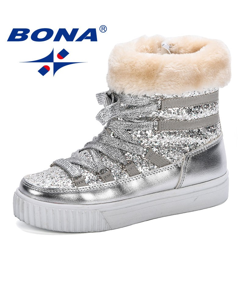 BONA New Arrival Hot Style Winter Children Boots Thick Warm Shoes Side Zippers Boys Girls Plush Boots Boys Snow Boots Trendy