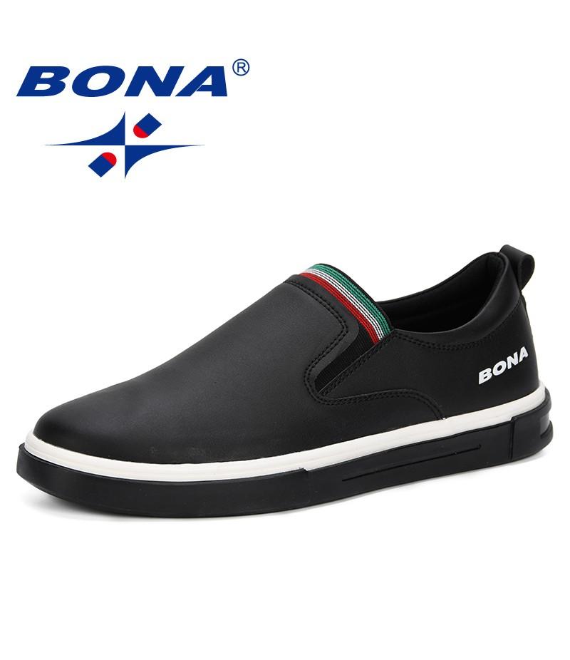BONA Men New Designer Casual Shoes Solid Color Split Leather Sneakers Trendy Flat Shoes Slip-On Footwear Vulcanized Shoes Men